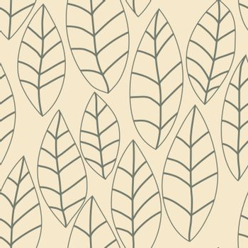Floral leaf vector pattern. Seamless doodle texture with flowers. Use as desktop wallpaper or surface textures, web page background, textile and other.