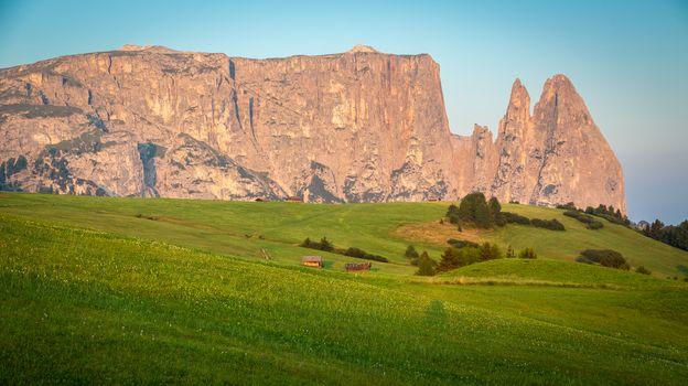 Schlern mountain in morning light, Seiser Alm, South Tyrol, Ital