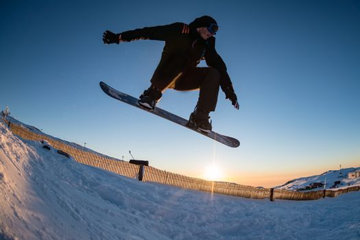Snowboarding in the mountains