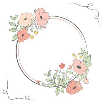 Cute card with laurel flower bouquet. Vector illustration