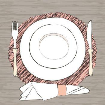 Informal vector table setting. Tableware and eating utensils