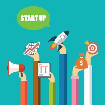 start up business concept flat design