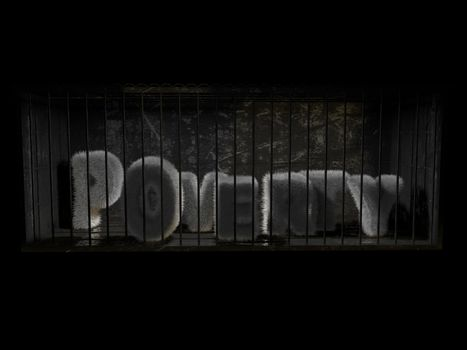 3D poverty word inside a prison