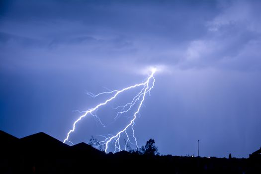 Cloud to Ground forked Lightning Strike