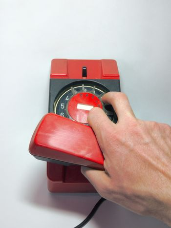 Dialing of the number on the old disk phone