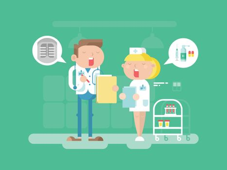 Doctor and nurse character. Hospital medicine, medical professional, care and stethoscope, conversation people. Vector illustration