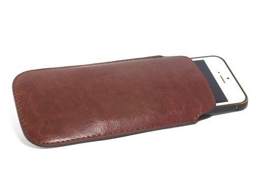 Leather case for smartphone Isolated
