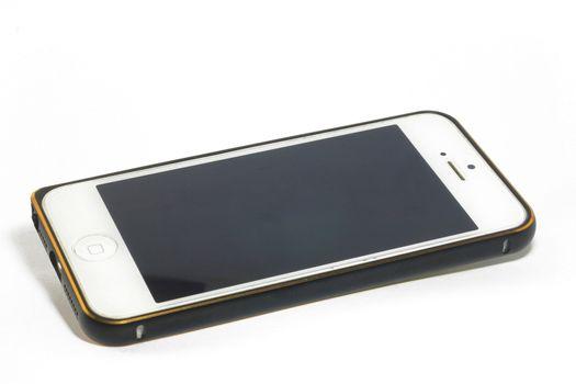 White Smartphone and Black gold metalic case