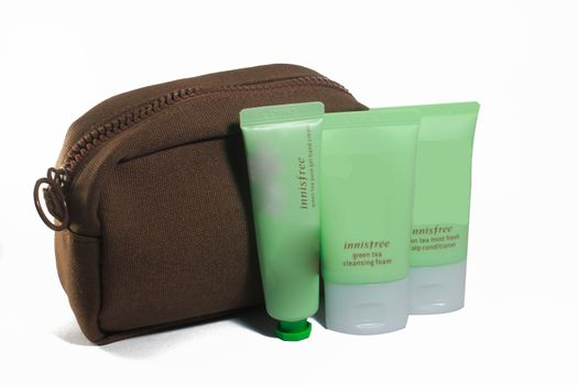 Brown Cosmetic Bag and Green consmetic Isolated