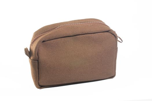 Mini Brown cosmetic bags for women Isolated