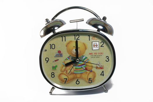 Clock Set the table - Working Time - 8 A.M. Isolated