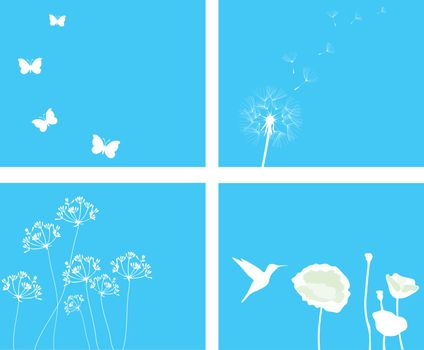 vector illustration of nature set background with birds and flowers