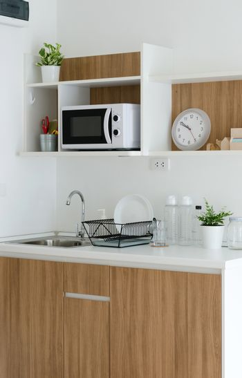 Modern pantry with utensil and sink