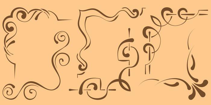 set of beautiful corners for design. Six elements