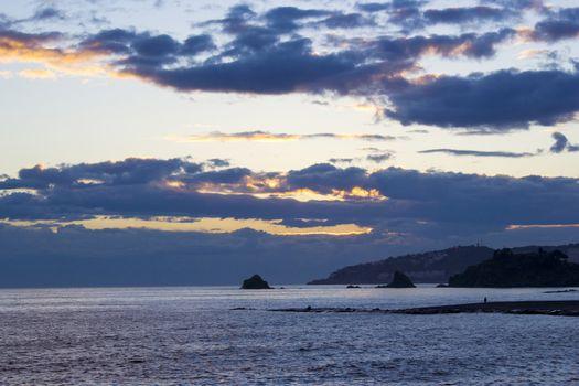 Playa De La Caletilla at sunset, Almunecar, Andalusia, Spain