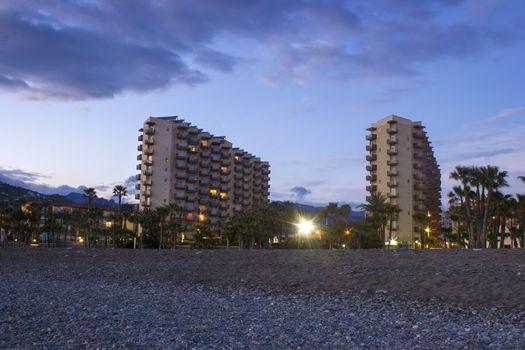 Hotels on the beach, Playa De La Caletilla at sunset, Almunecar, Andalusia, Spain