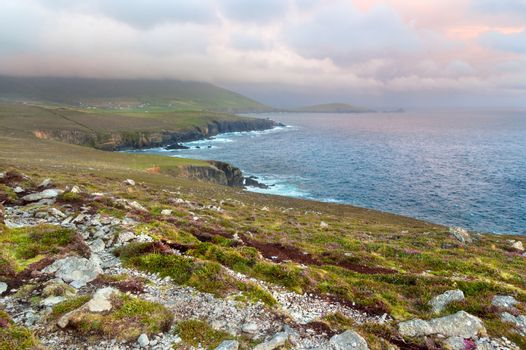 Scenic view over West coast of Ireland on Dingle peninsula Count