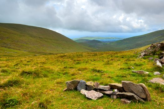 Lanscape view over green hills in Ring of Kerry