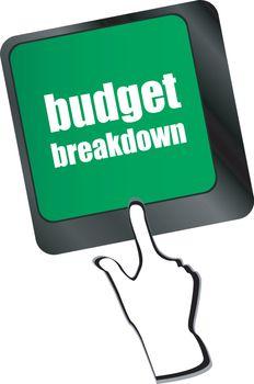 budget breakdown words on computer pc keyboard