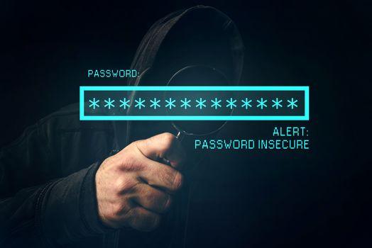 Password insecure alert, unrecognizable computer hacker stealing
