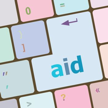 aid word with key on enter keyboard vector illustration