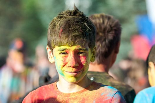 Orenburg, Russia - 13 June 2015: Young people at the Festival of holi
