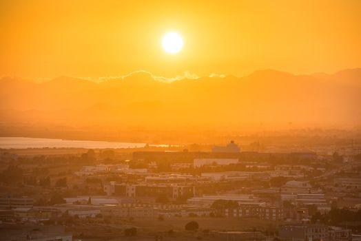 Sunset over europian city