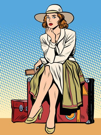 retro girl passenger with a ticket