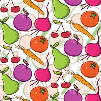 seamless vector background. colorful  fruits and vegetables
