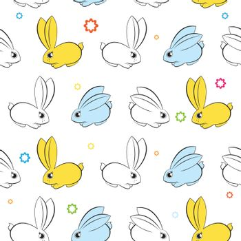 Vector seamless wallpaper. Easter bunnies on a white