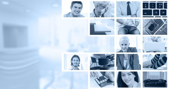 Composite image of businessmen using laptop