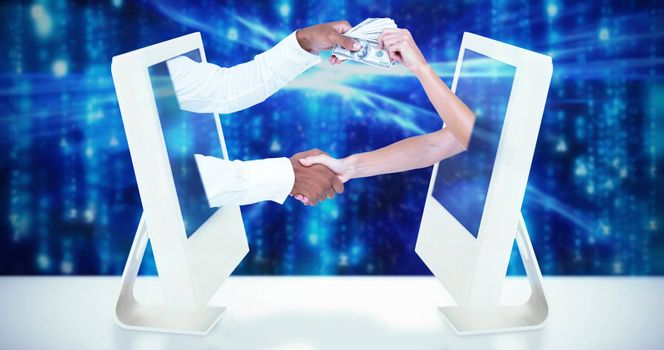Composite image of business people shaking hands and passing banknots
