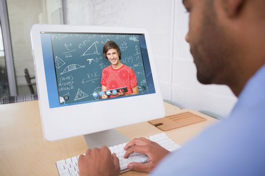 Composite image of smiling student with tablet