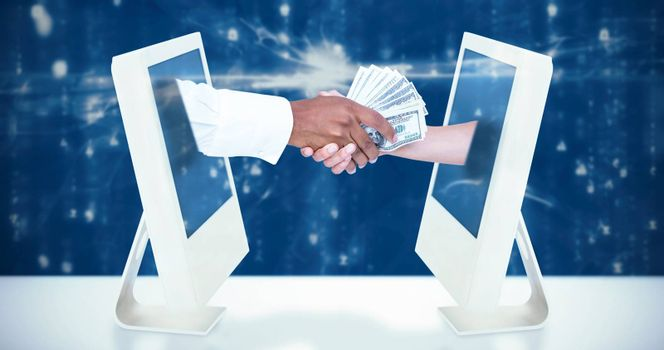 Composite image of  businessman handing over banknotes to female colleague