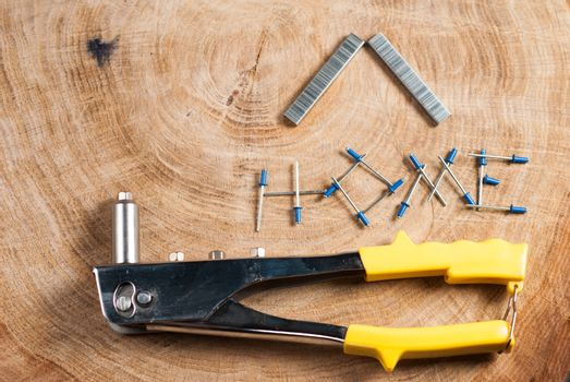 Rivet gun, rivets and applicator.