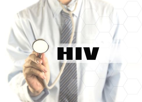 blurred doctor with word HIV