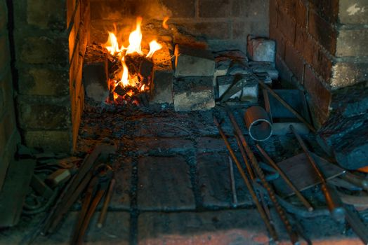 the furnace in the forge close up