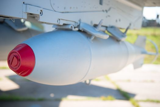aviation bombs on a military bomber closeup