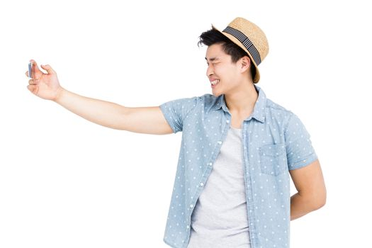 Young man clicking a selfie