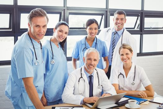 Portrait of medical team at a meeting in conference room