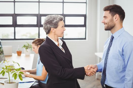 Businesswoman handshaking with male colleague