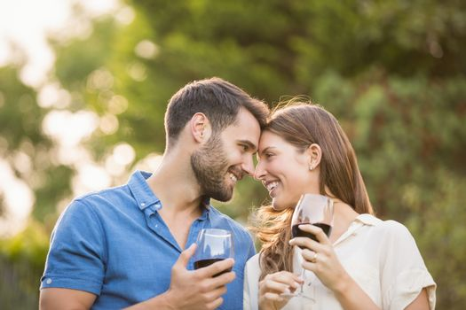 Happy couple with wineglass at park