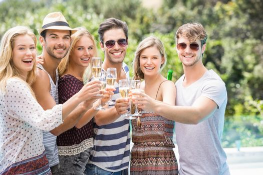Group of friends toasting champagne glasses