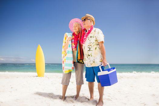 Senior couple holding icebox