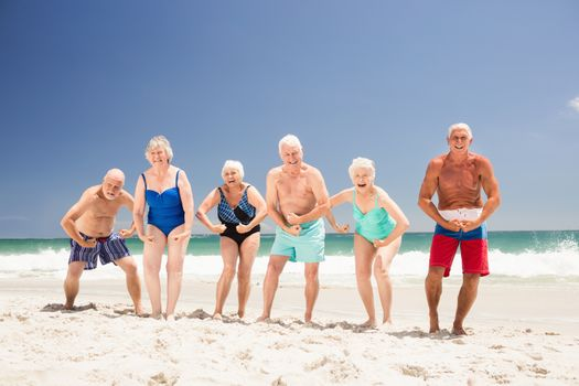 Senior friends showing their muscles