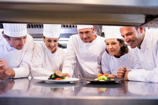 Chefs looking at the dish prepared by them