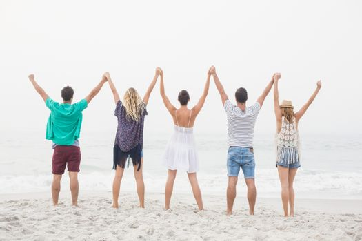 Rear view of friends holding hands and standing in a row