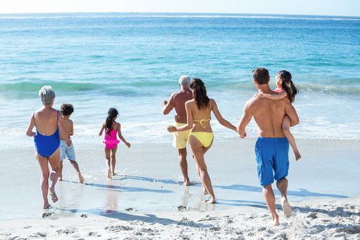 Cute multi generation family running in the sea