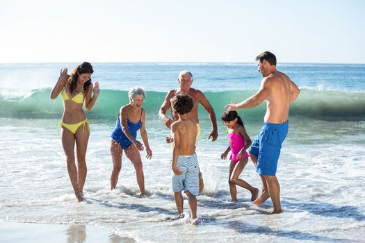 Happy family playing with waves