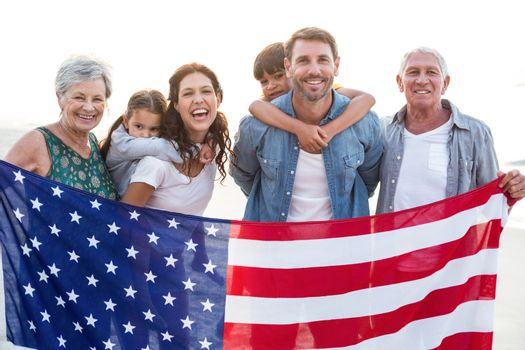 Happy family with an american flag